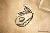 Avocado Half Rubber Stamp