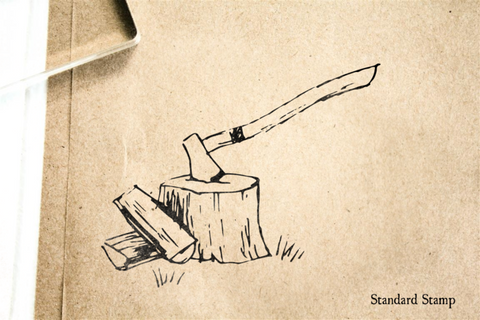 Ax and Stump Rubber Stamp