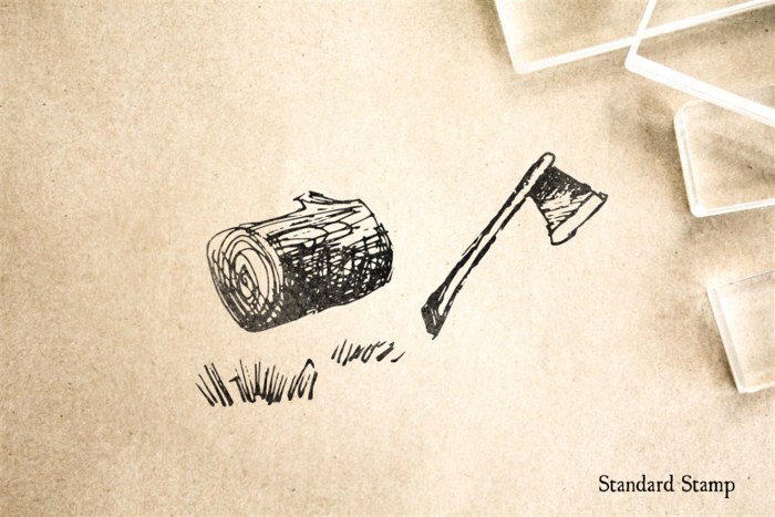 Axe and Log Rubber Stamp