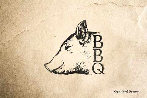 BBQ Pig Head Rubber Stamp