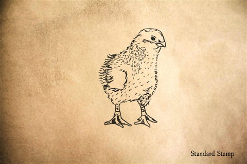 Baby Chick Standing Rubber Stamp