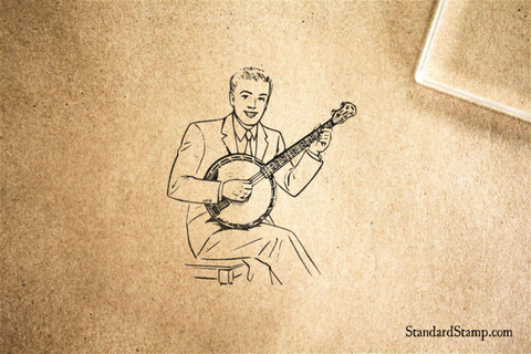 Banjo Man Rubber Stamp