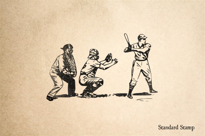 Baseball Players Rubber Stamp