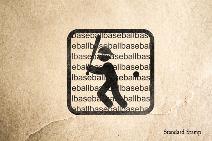 Baseball on Text Rubber Stamp