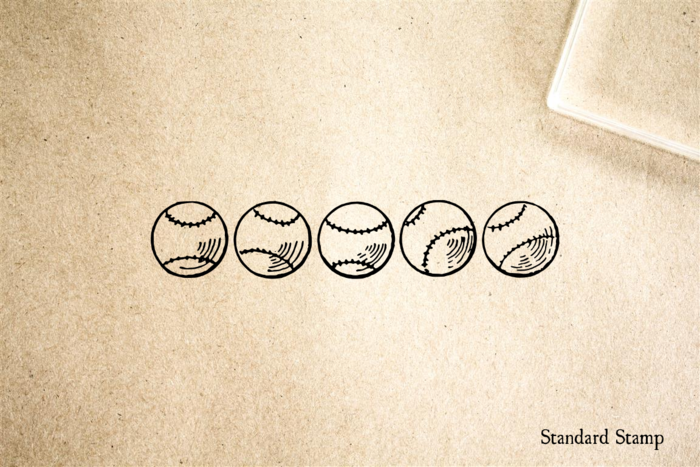 Baseballs Rubber Stamp