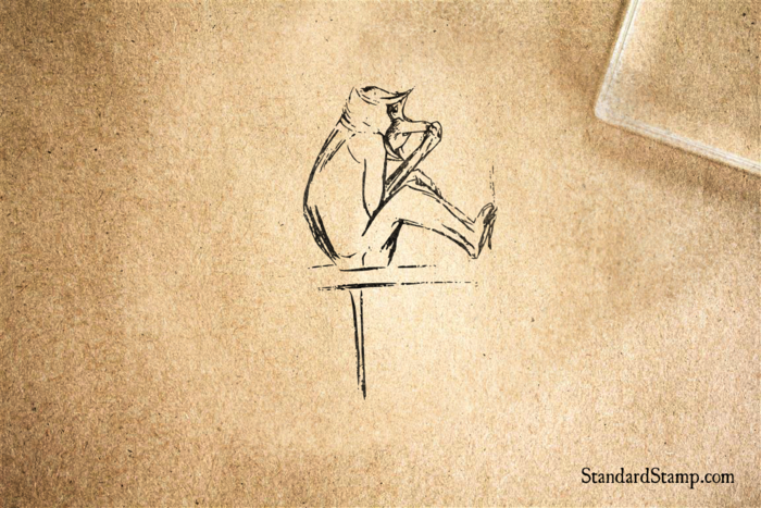 Bashful Long Nosed Monkey Rubber Stamp