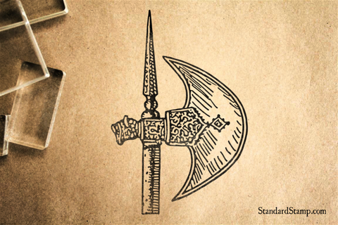 Battle Axe Blade Rubber Stamp