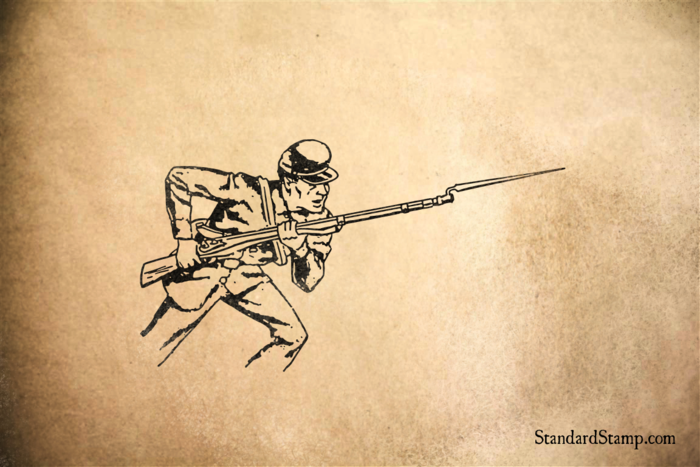 Bayonet Soldier Rubber Stamp