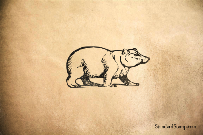 Bear Walking Rubber Stamp