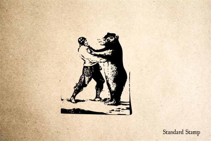 Bear and Man Rubber Stamp