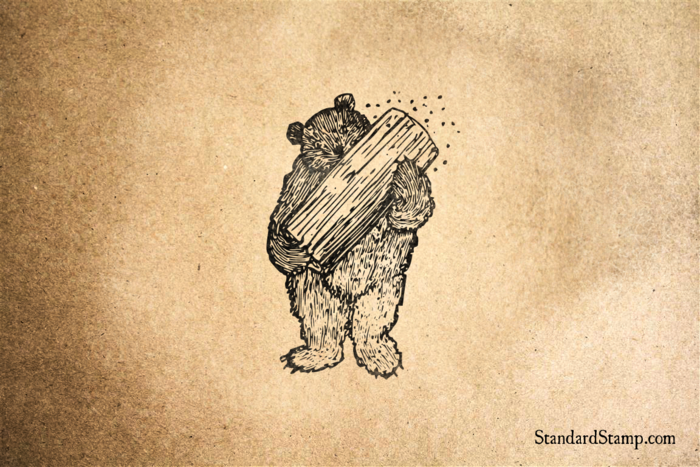 Bear with Hive Rubber Stamp