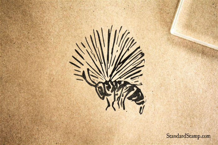 Bee in Flight Rubber Stamp
