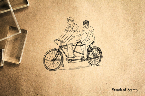 Bicycle Built for Two Rubber Stamp