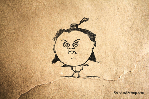 Big Head Man Rubber Stamp