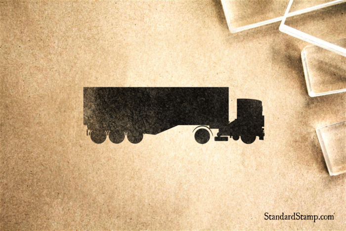 Big Rig Tractor Trailer Rubber Stamp