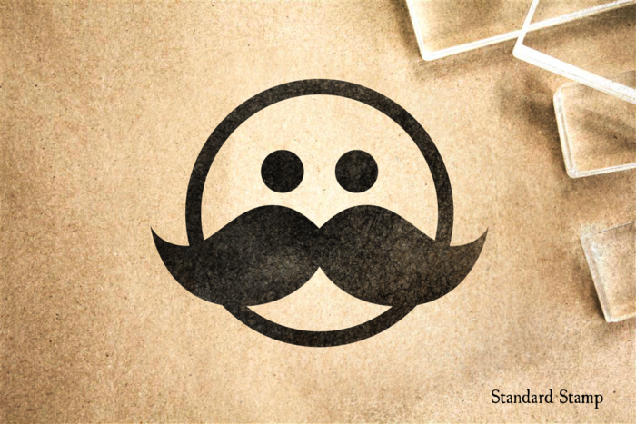 Big Stache Face Rubber Stamp