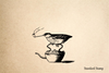 Bird on Teapot Rubber Stamp