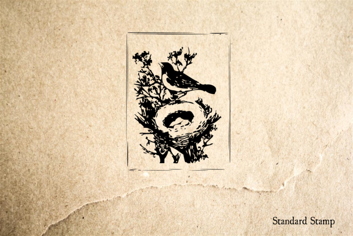 Bird with Nest Rubber Stamp