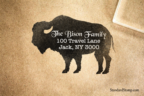 Bison Return Address Rubber Stamp