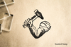 Blacksmith Hammer Arm Rubber Stamp