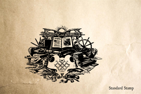 Book Imagination Rubber Stamp
