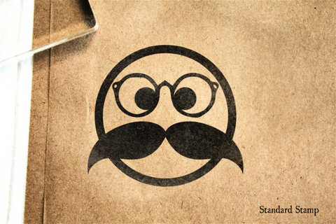 Bookworm Face Rubber Stamp