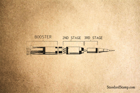 Booster Rocket Rubber Stamp
