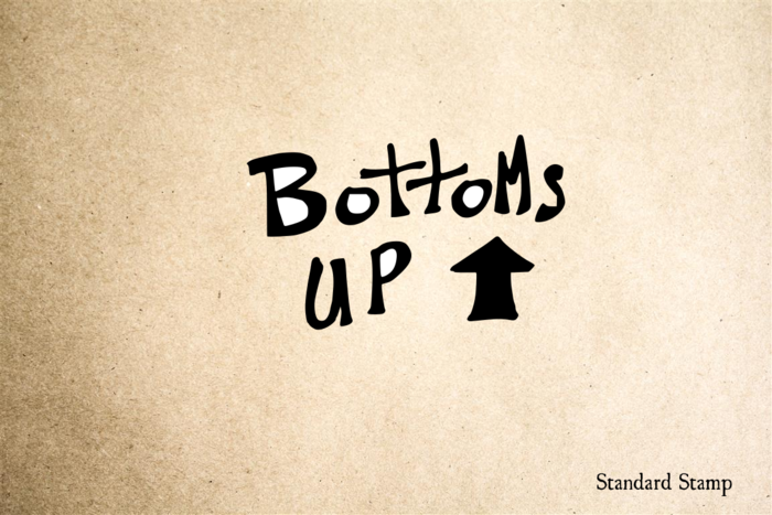 Bottoms Up Hand Drawn Sign Rubber Stamp