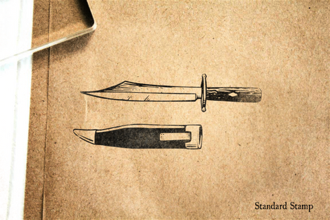 Bowie Knife Rubber Stamp
