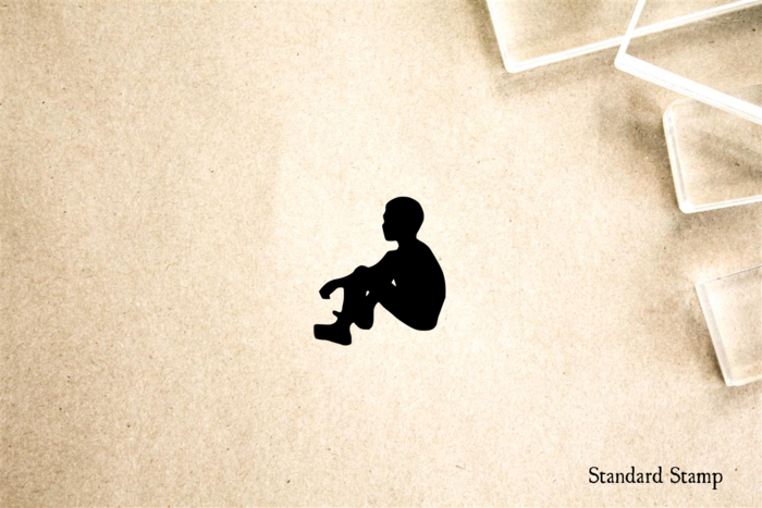 Boy Sitting Silhouette Rubber Stamp