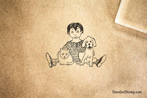 Boy with Cat and Dog Rubber Stamp