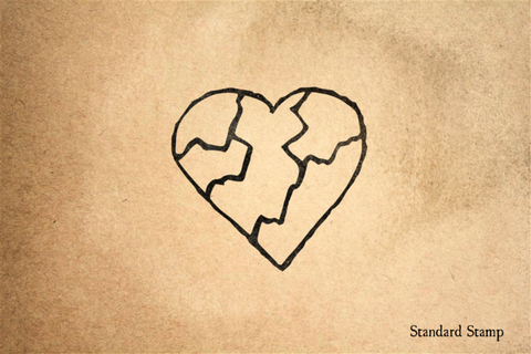 Broken Heart Rubber Stamp