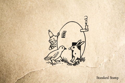 Bunny Bird and Brownie Easter Egg House Rubber Stamp