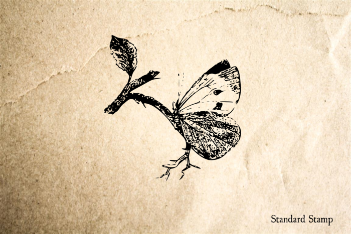 Butterfly on Branch Rubber Stamp