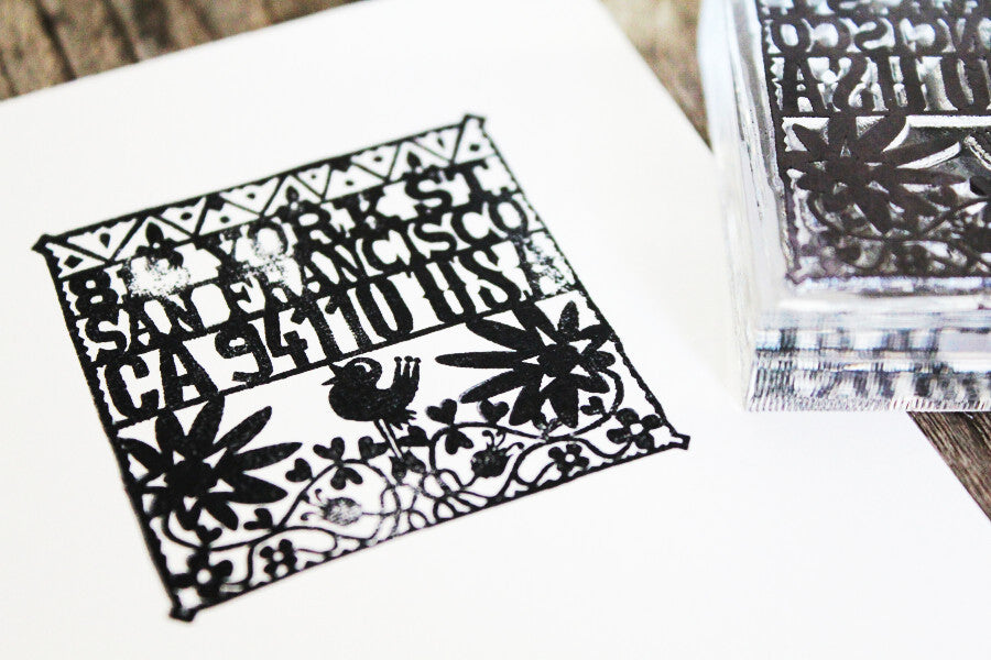 3 x 3 Inch Custom Stamp with Clear Acrylic Handle