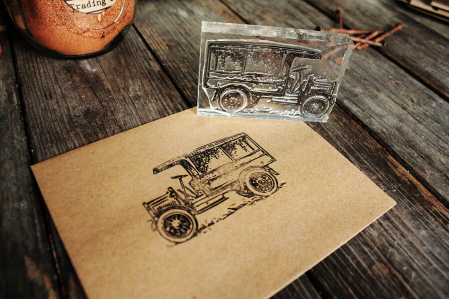 Truck, Old Delivery, 2 x 2 Inch Stamp