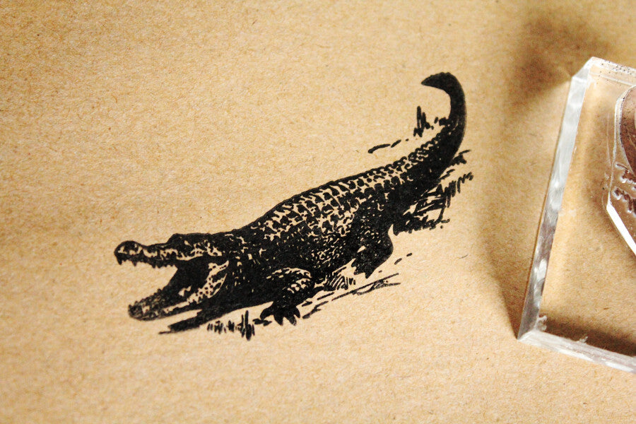 "Alligator Laughing 2""x3"" Stamp"