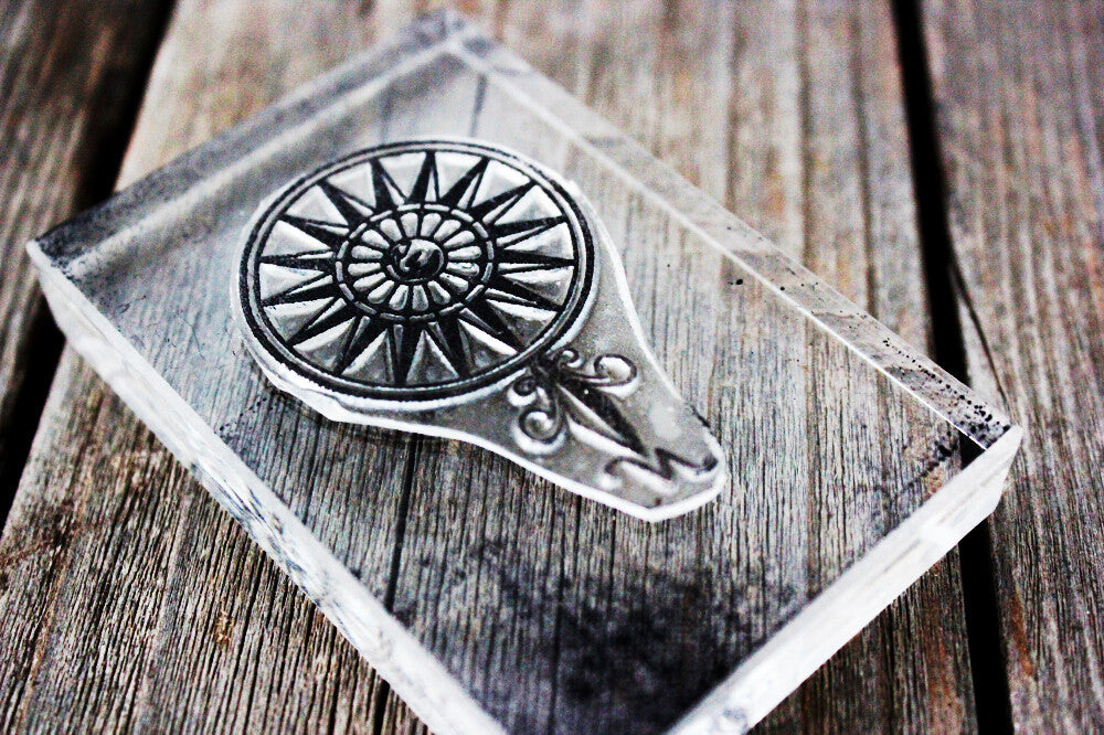Compass Rose with No Cardinal Directions 3 x 1 Inch Stamp
