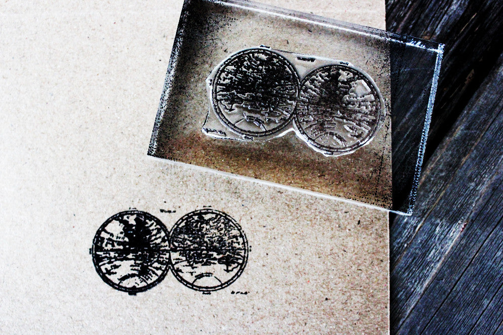 Map of the Earth with Goggle Shape 3 x 2 Inch Stamp