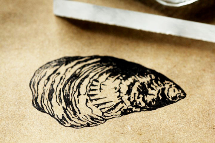 Oyster Rubber Stamp - 2x3 Inches