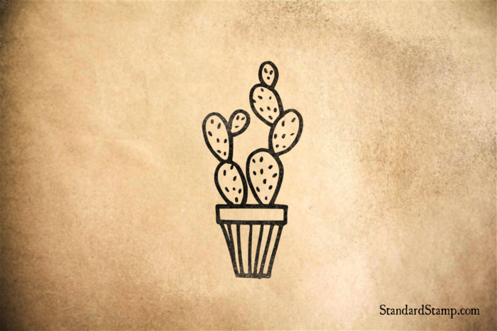 Cactus in a Striped Potted Planter Rubber Stamp