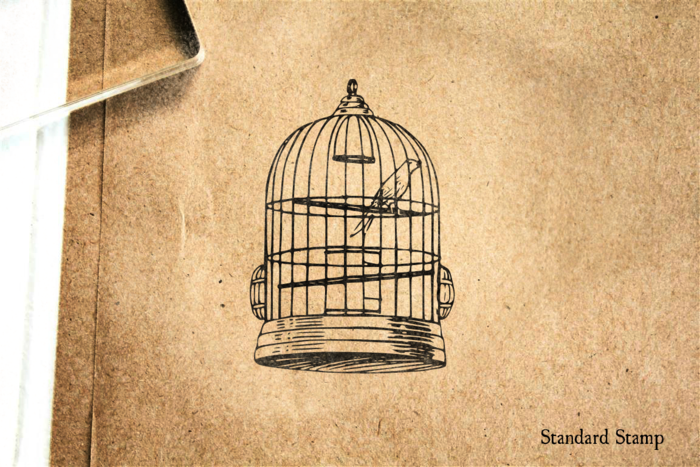 Bird Cage Rubber Stamp