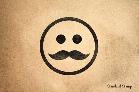 Calm Mustache Face Rubber Stamp