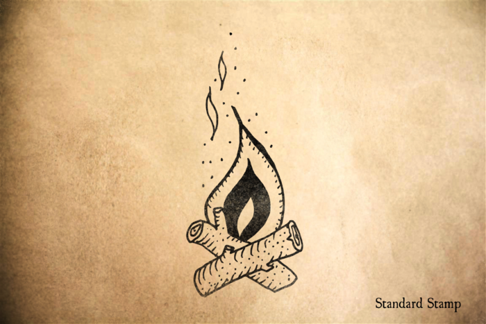 Campfire Rubber Stamp