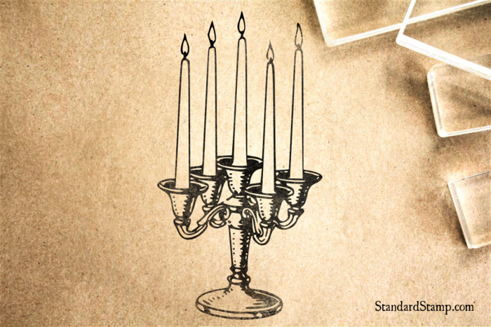Candle Sticks Rubber Stamp
