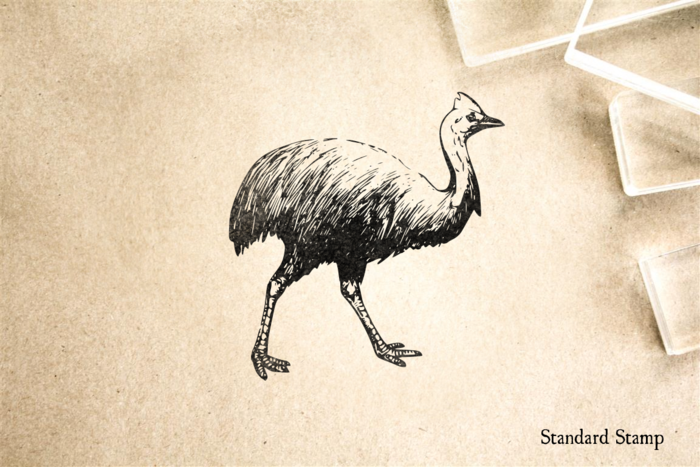 Cassowary Walking Rubber Stamp