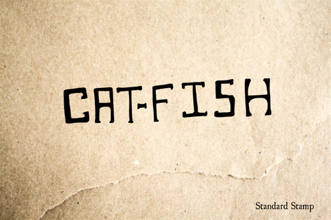 Cat-Fish Sign Hand Drawn Rubber Stamp