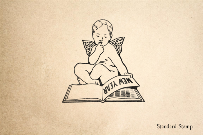 Cherub New Year Rubber Stamp