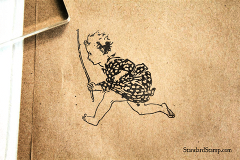 Child Running with Stick Rubber Stamp