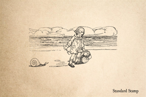 Child at Beach with Snail Rubber Stamp